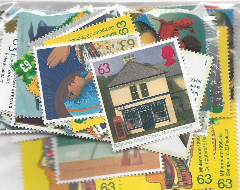 100 x 63p Discount GB Postage Stamps